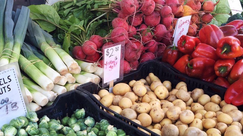 Vegetables at Solvang Farmer's Market in December